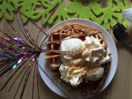 Luxury waffles with icecream
