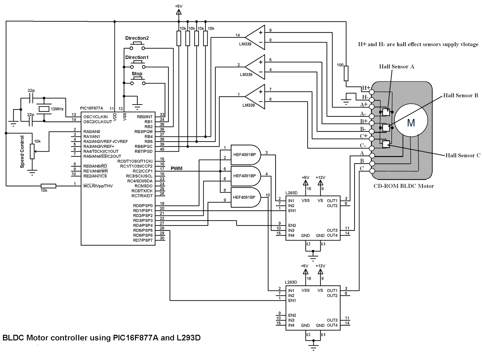 Bldc Motor Control Using Pic16f877a And L293d