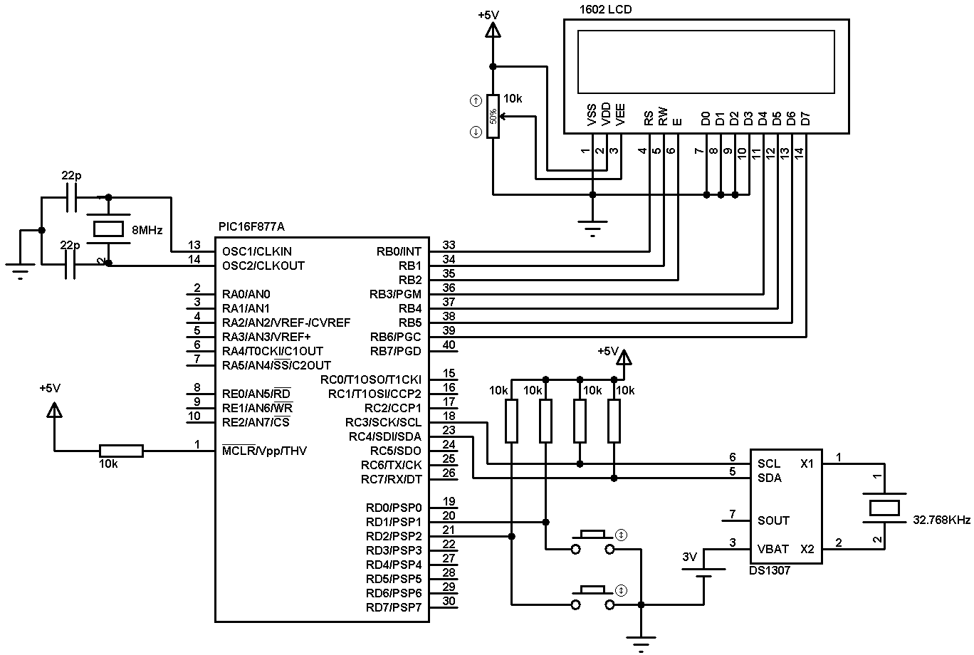 Real Time Clock Using Pic16f877a And Ds Rtc
