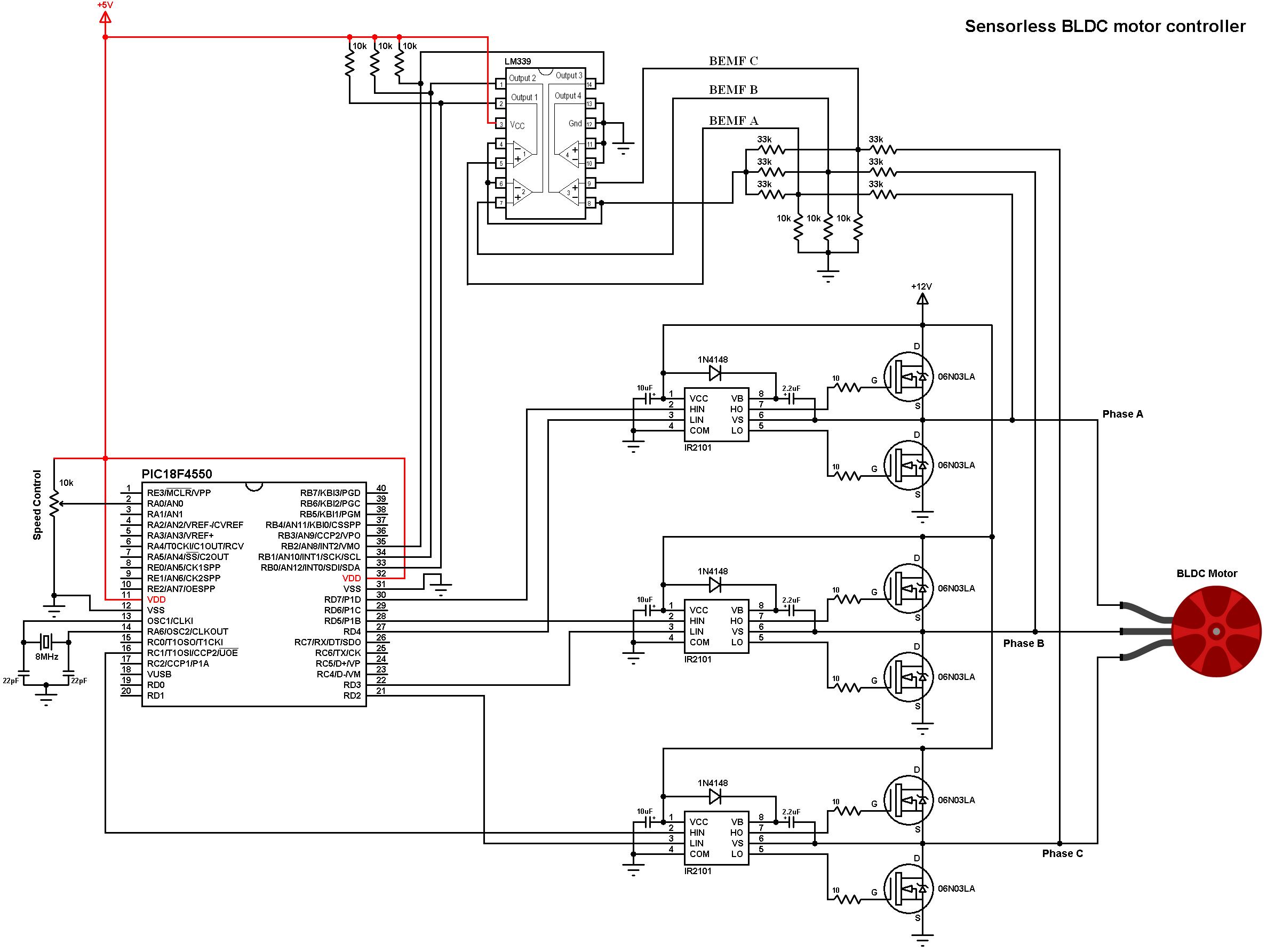 Brushless Esc Circuit Diagram 12f675 Based Brushed Motor