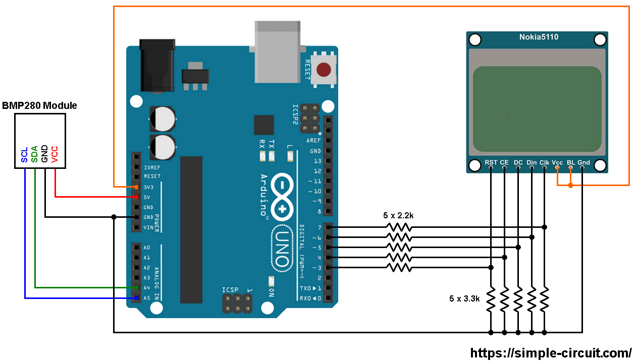 Arduino With NOKIA 5110 LCD And BMP280 Sensor
