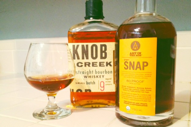 snap happy knob creek bourbon and snap liqueur