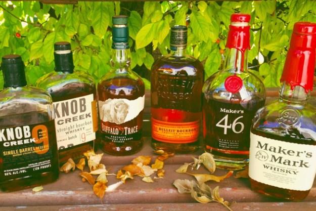 Knob Creek, Buffalo Trace, Bulleit, Maker's Mark Bourbons