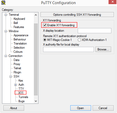 Configuration X11 Putty