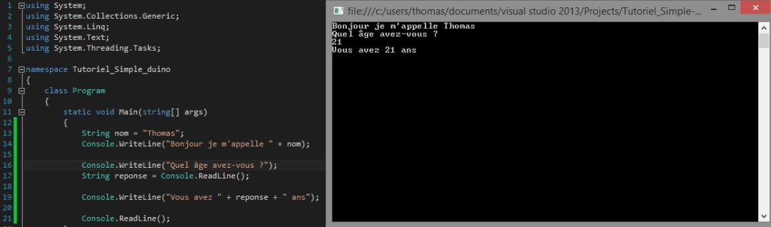 Exécution d'un programme d'exemple d'input console