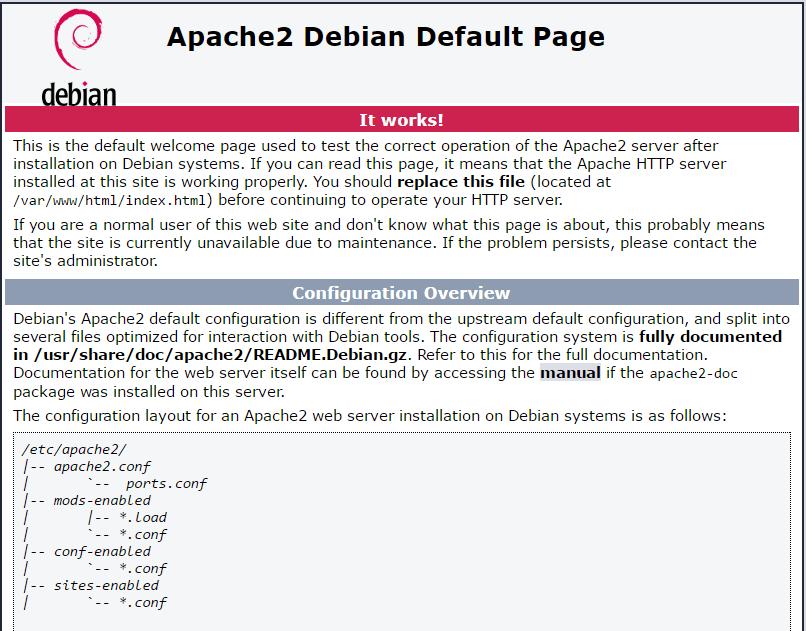 Vérification de fonctionnement d'Apache sur le navigateur web