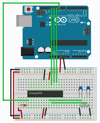 Schéma de câblage pour bootloader une puce AtMega328