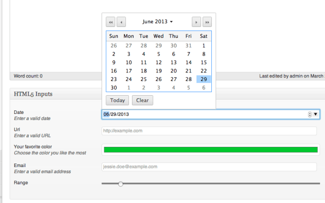 Screenshot of wp admin, editing a post, and showing a date selector and some other fields