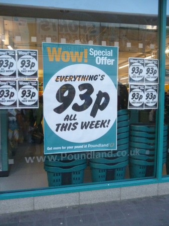 everything's 93p this week. suspicious minds might think it's due to the <99p shop that's opened opposit to replace QD