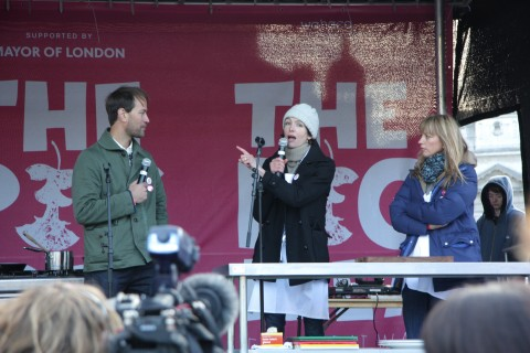 Tristram Stuart, Thomasina Miers and Sara Cox cooking up some pork