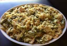 Easy Chicken Wild Rice Casserole in White Ceramic Dish Close UP