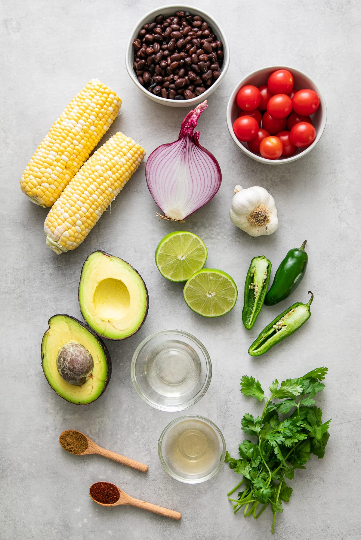 top down view of ingredients used to make black bean and corn salad recipe.