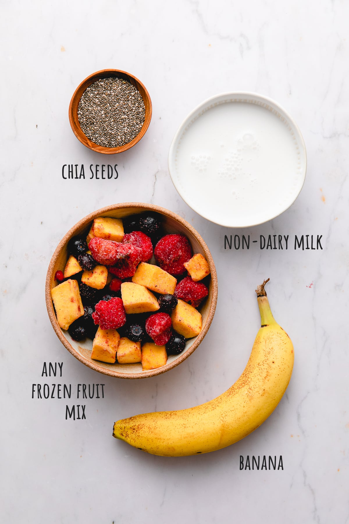top down view of ingredients used to make chia seed smoothie with banana.