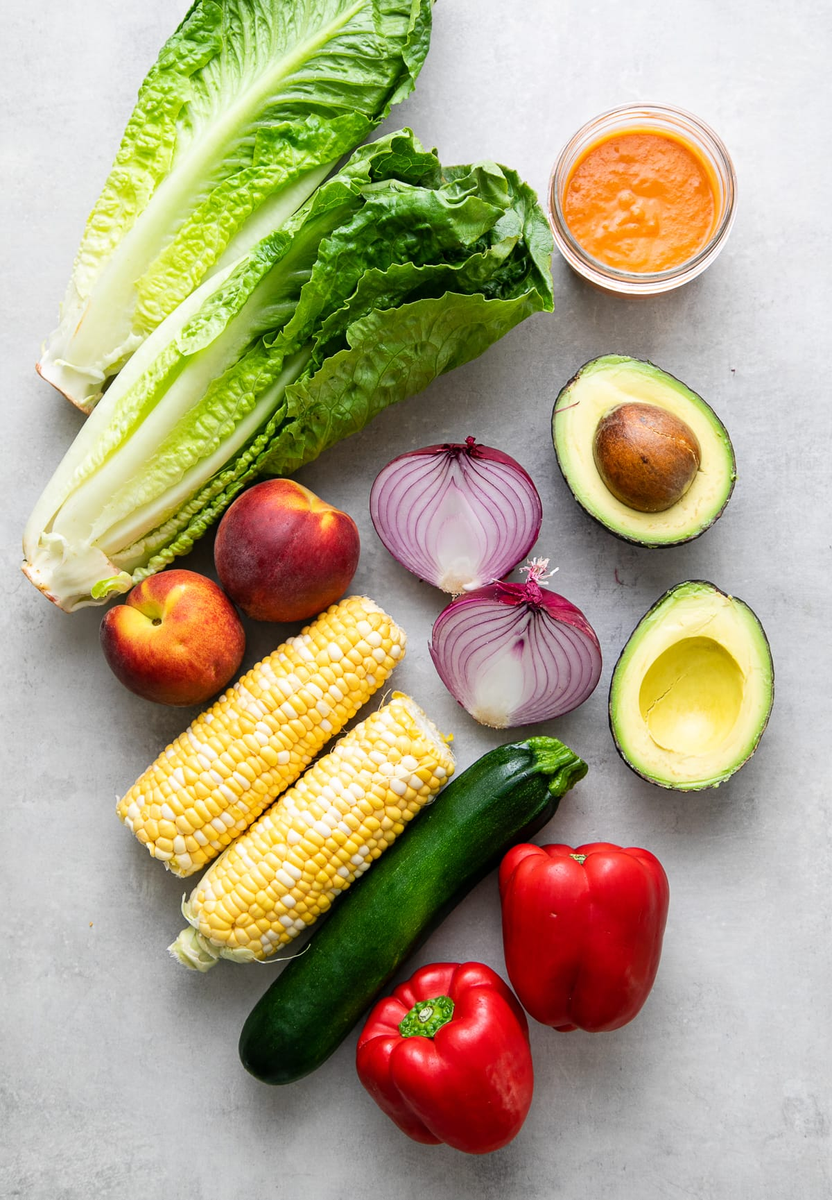 top down view of ingredients used to make farmer's market salad.