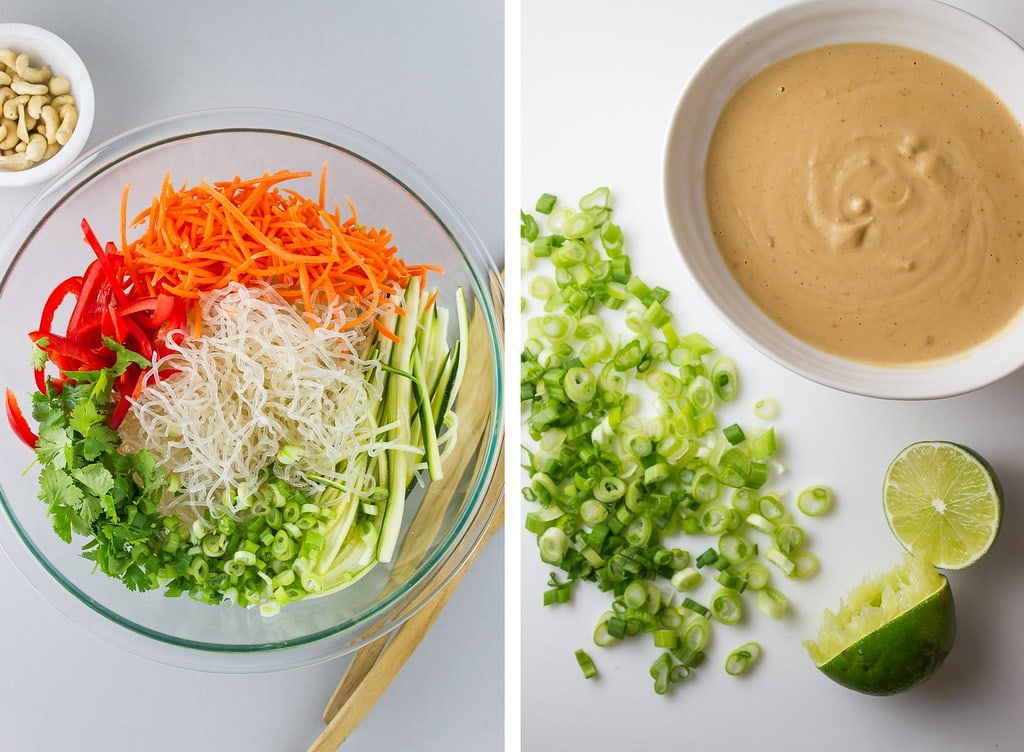 side by side photos showing the process of making raw pad thai.