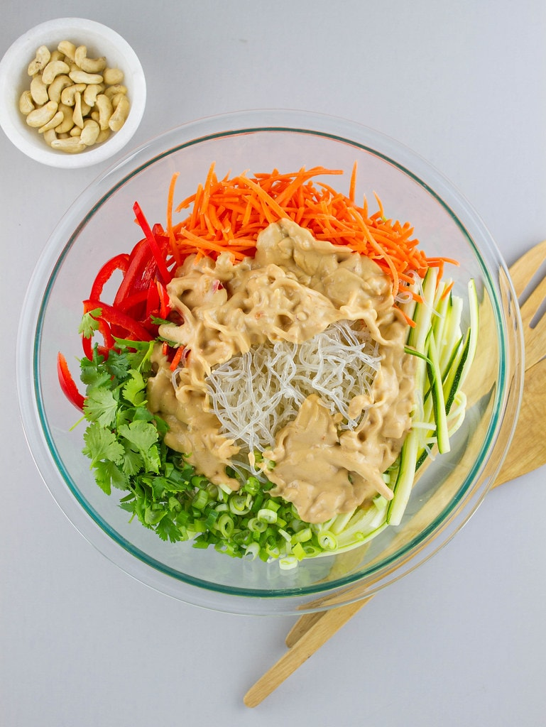 top down view of healthy pad thai with kelp noodles in bowl before mixing.