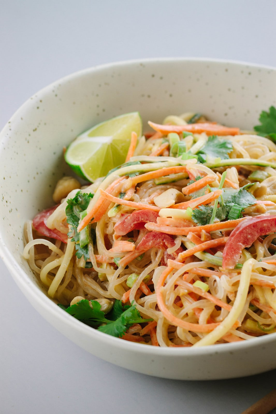side angle view of fresh raw pad thai in a bowl.