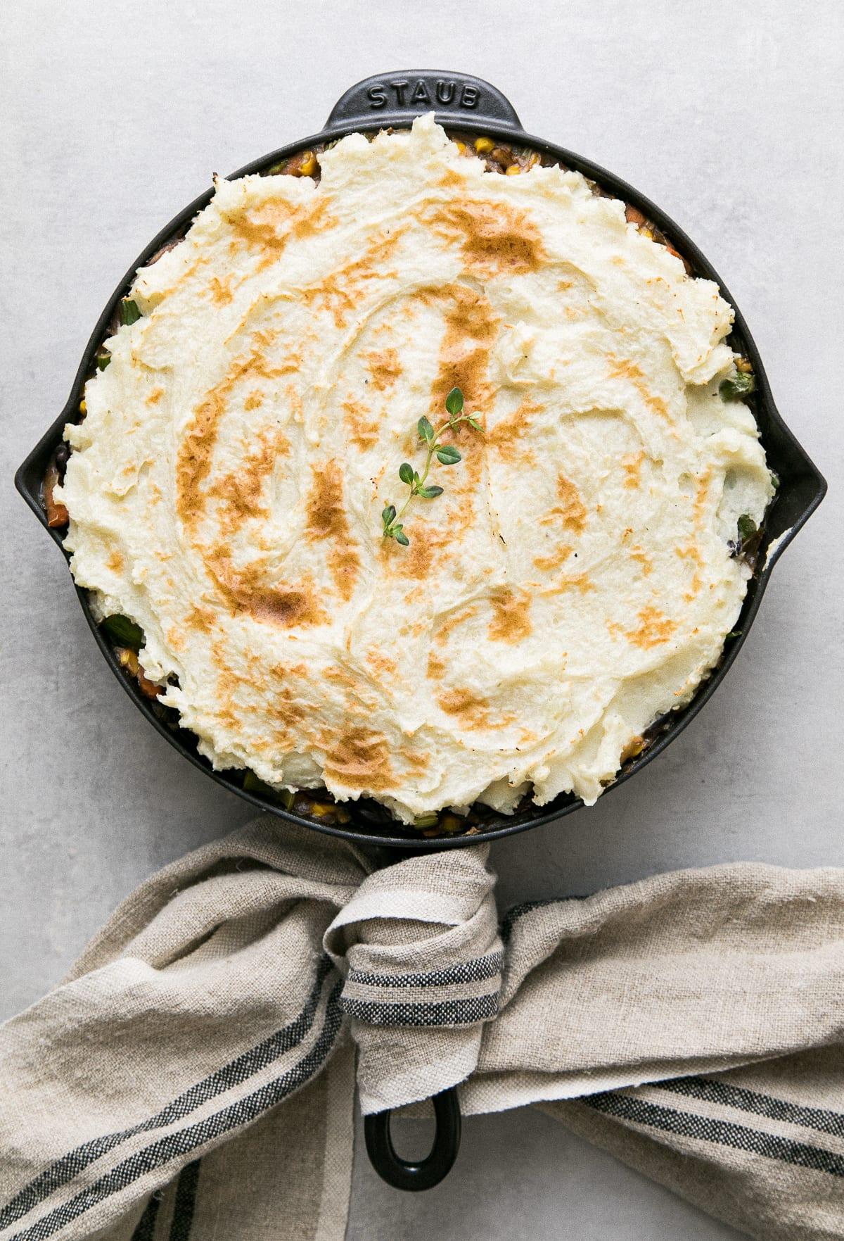top down view of freshly made vegetable shepherds pie.