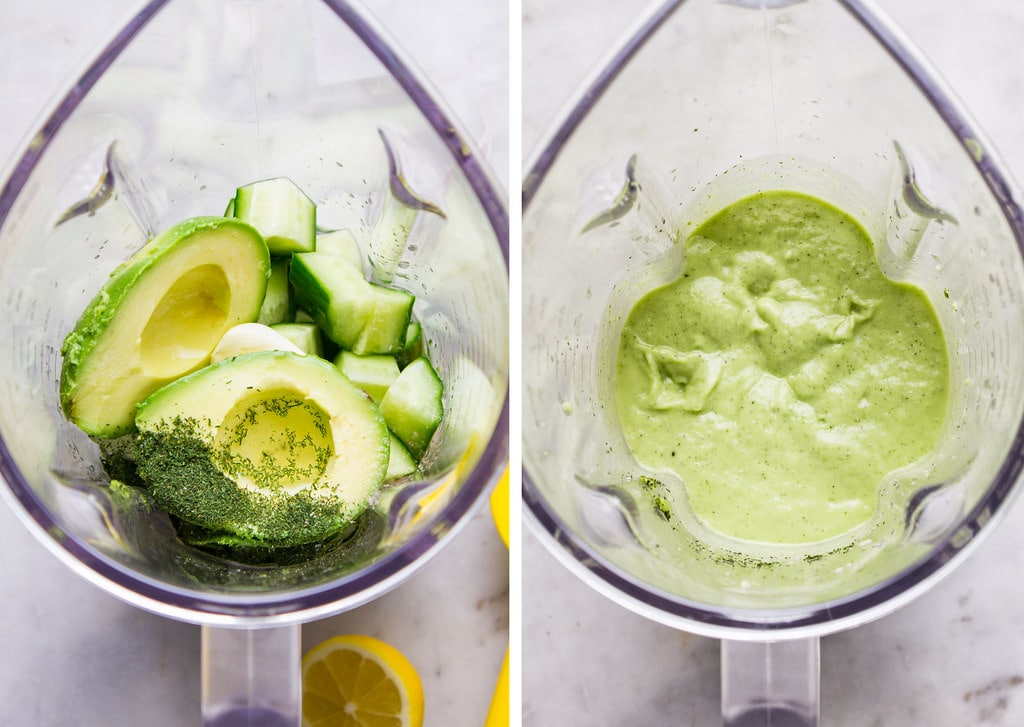 side by side photos showing the before and after of pureed chilled avocado cucumber soup in a blender cup.