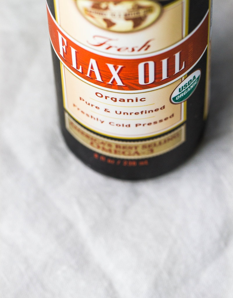 bottle of flax oil.