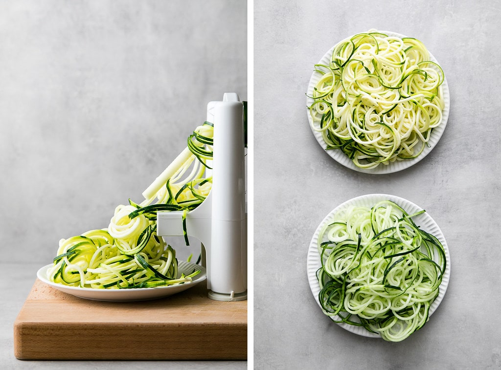side by side photos showing the process of spiralizing zucchini.