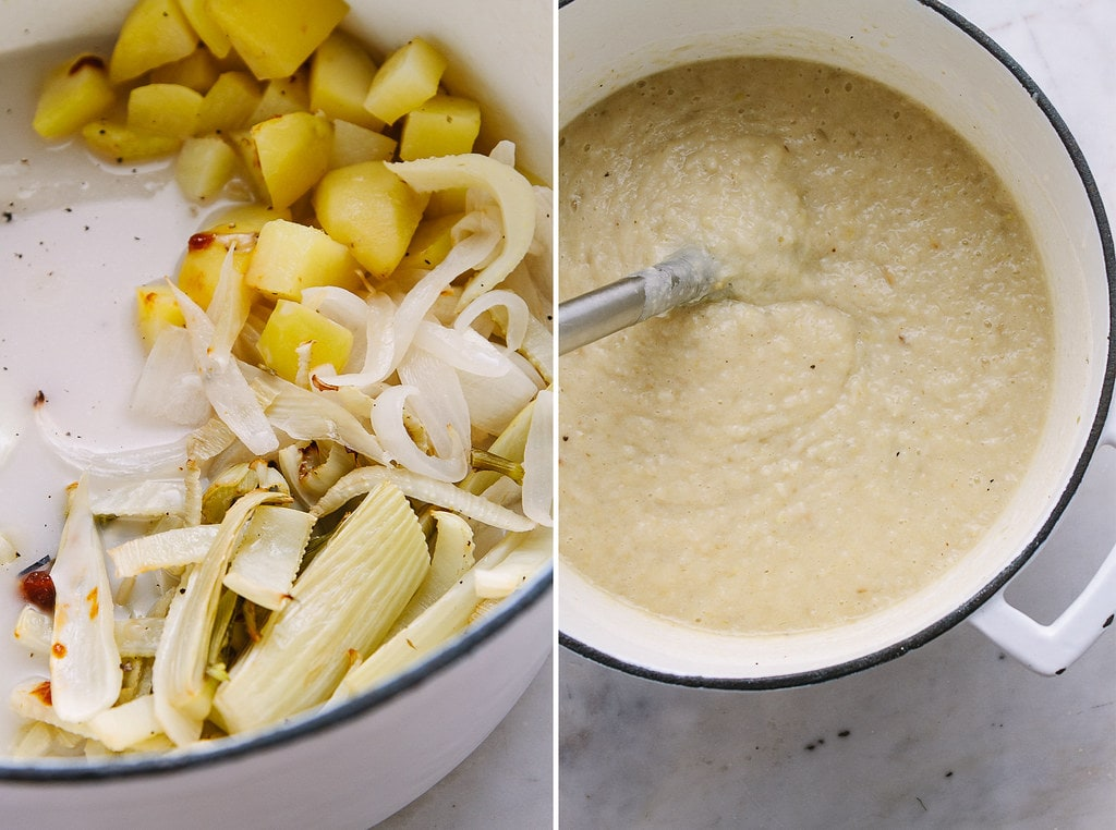 side by side photos showing the process of making roasted fennel and potato soup in a large pot.