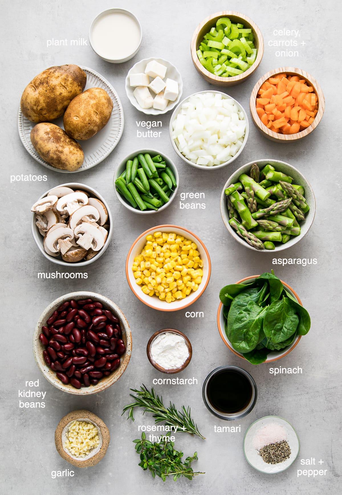 top down view of ingredients used to make skillet vegetarian shepherds pie.