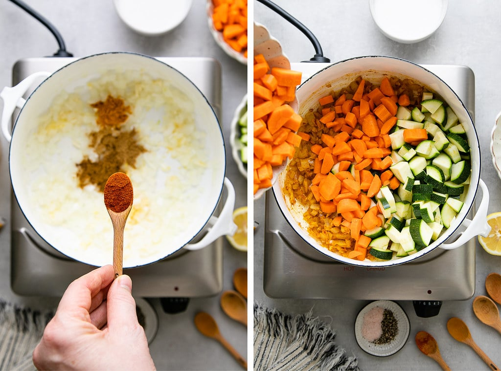 side by side photos showing the process of sauteing veggies and spices on the stovetop.