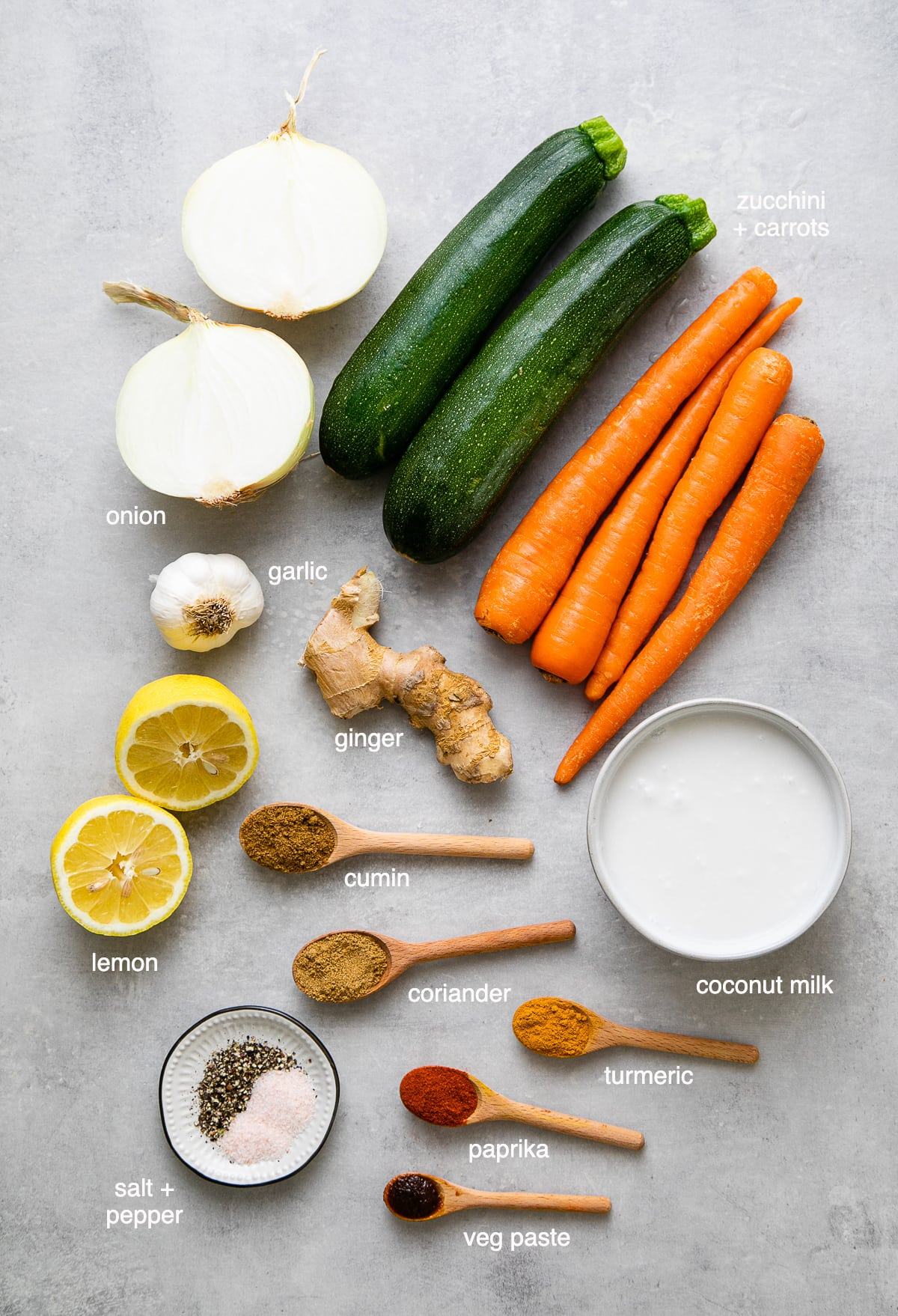 top down view of ingredients used to make healthy zucchini carrot soup.