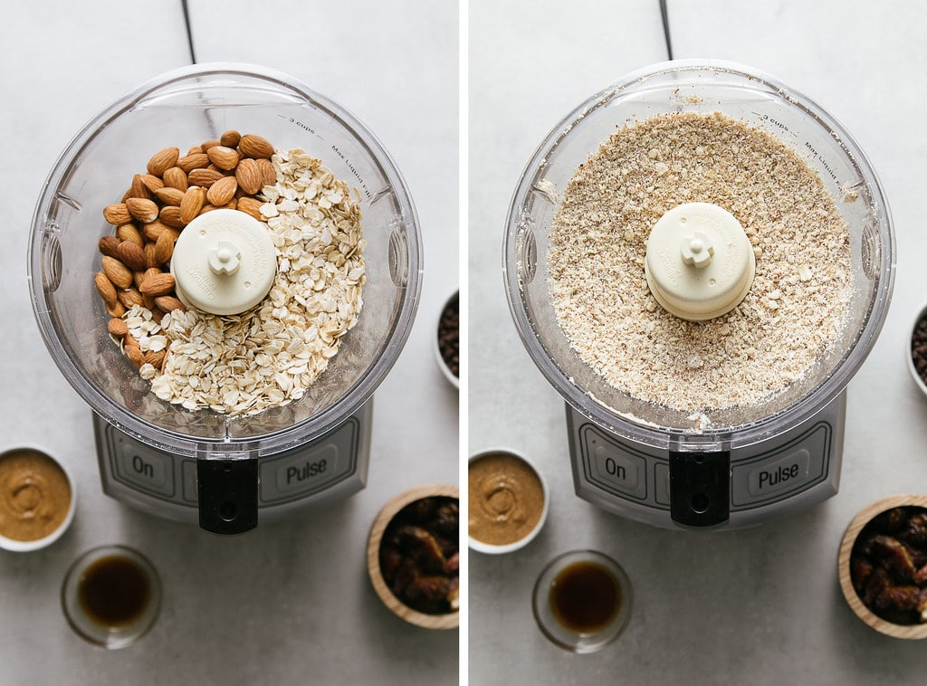 side by side photos showing the process of processing almonds and oats in food processer.
