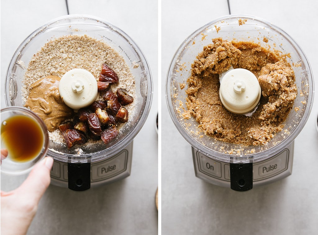 side by side photos showing the process of making no bake energy bites.