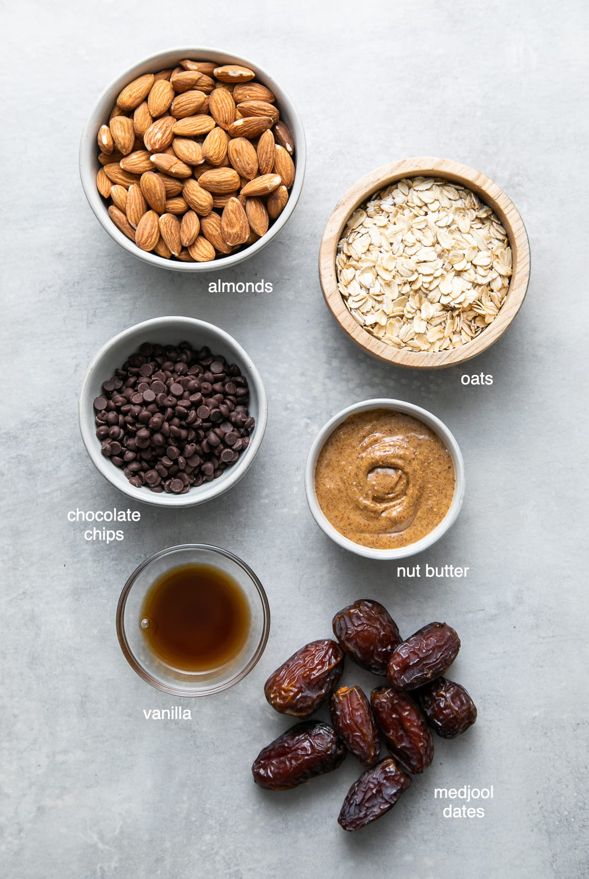 top down view of ingredients used to make heathy chocolate chip energy bites.