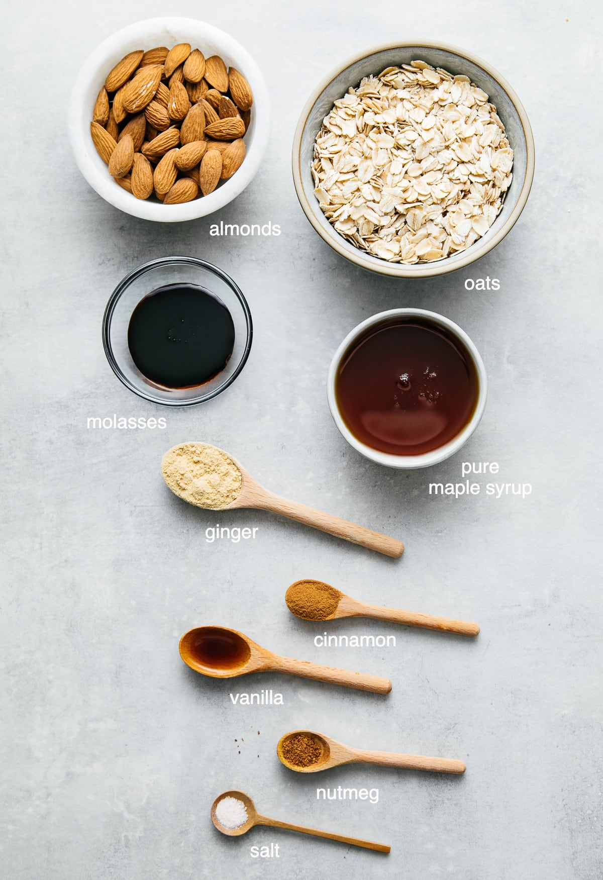 top down view of ingredients used to make raw ginger snaps.
