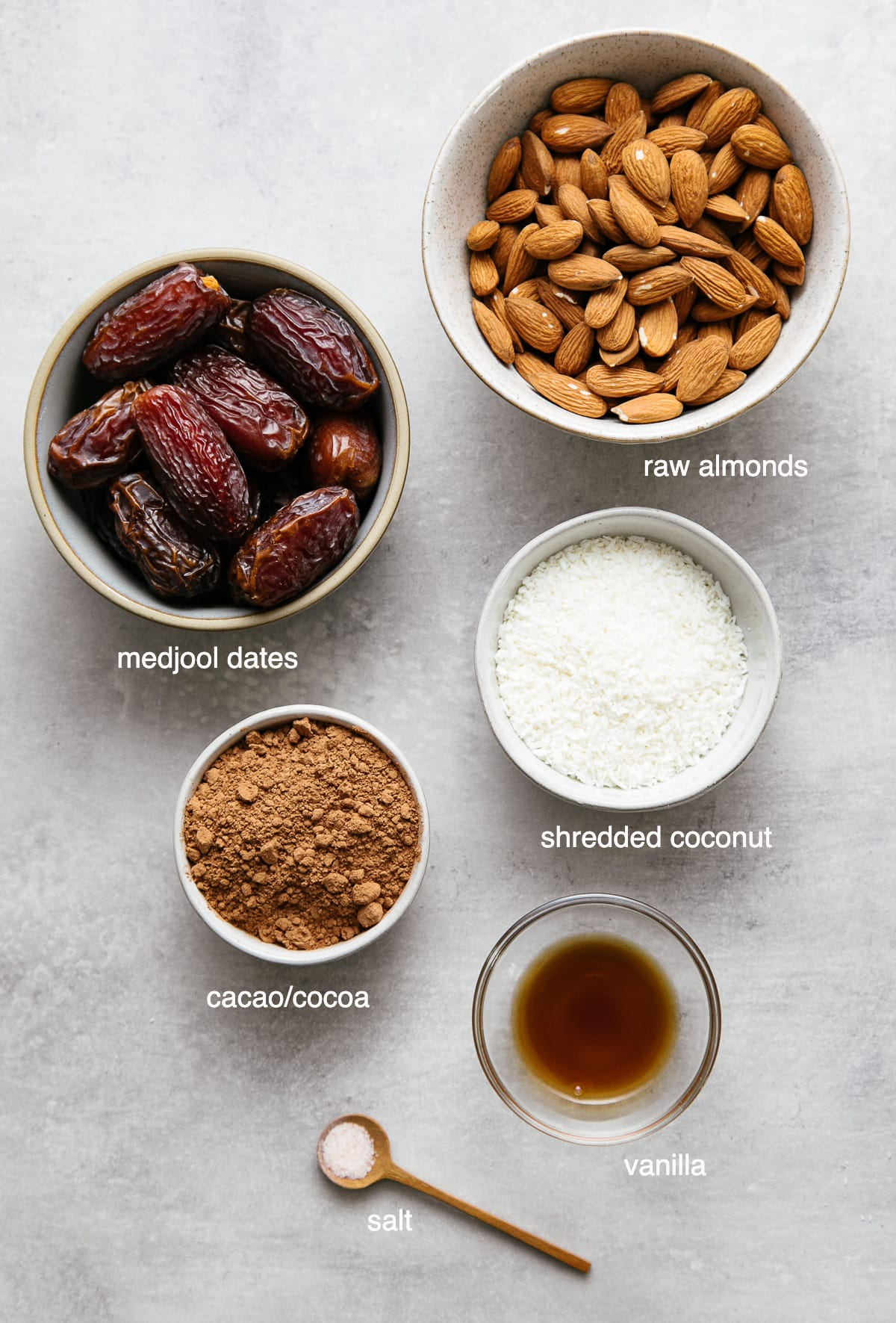 top down view of ingredients used to make raw coconut brownie bites recipe.