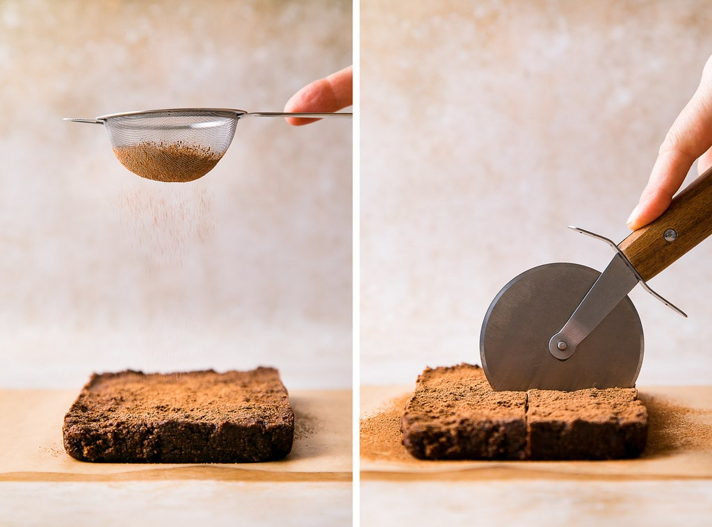 side by side photos showing the process of dusting with cacao powder and cutting raw vegan brownies.