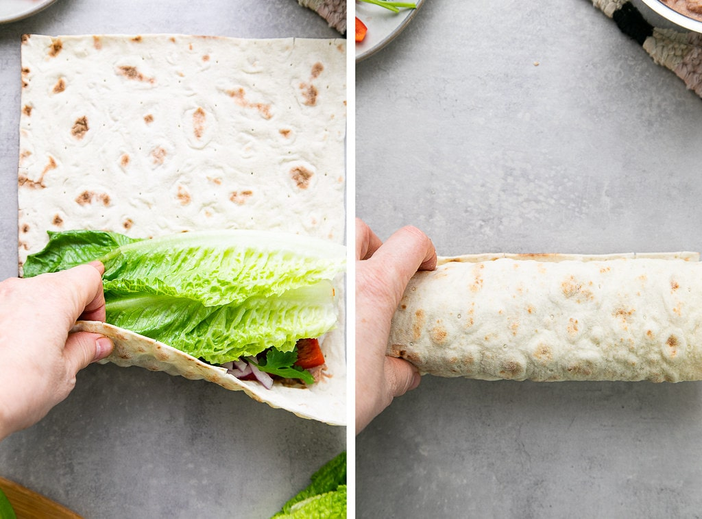 side by side photos showing the process of rolling a lavash wrap.