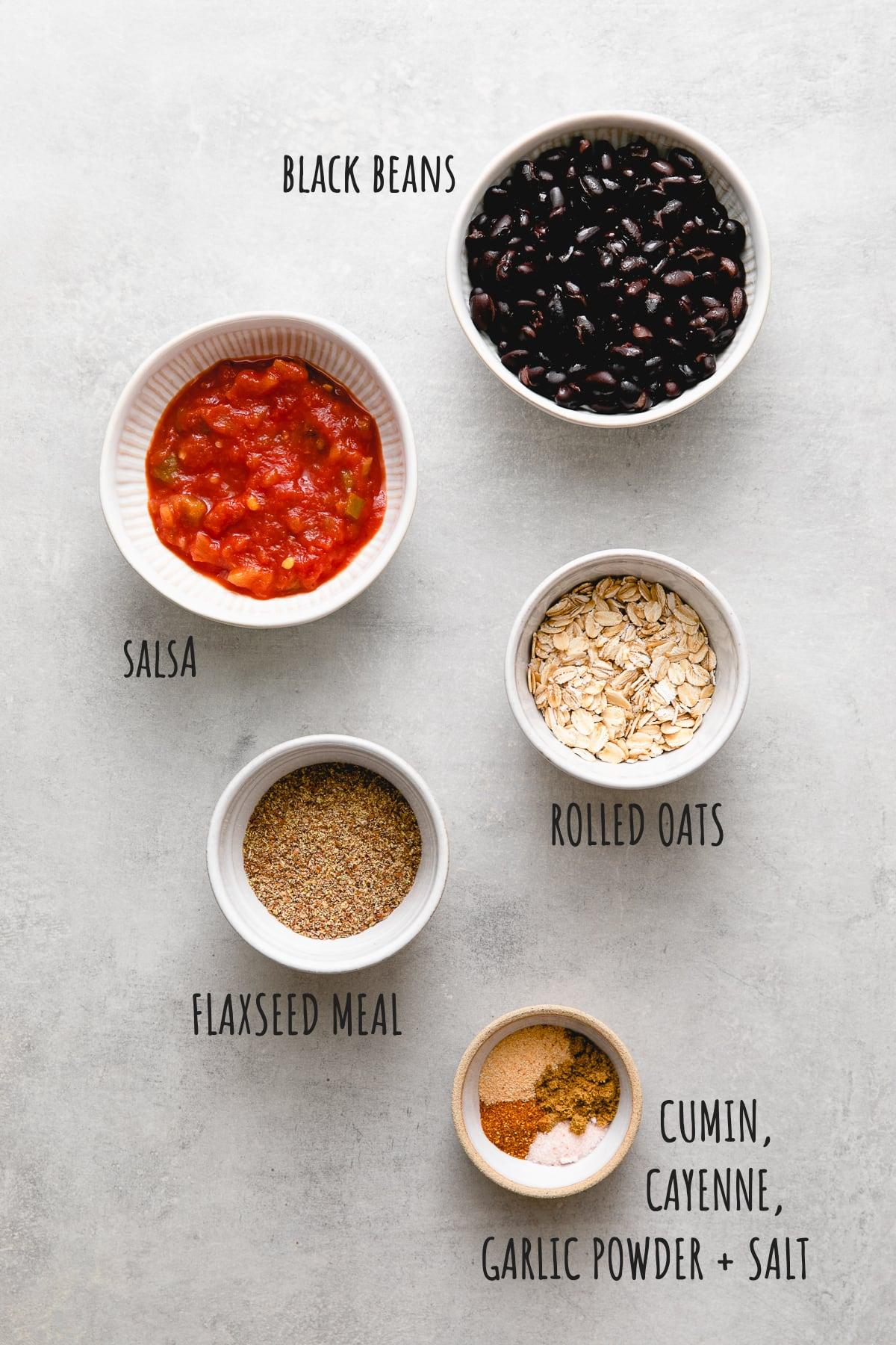 top down view of ingredients used to make santa fe vegan black bean burger patties.
