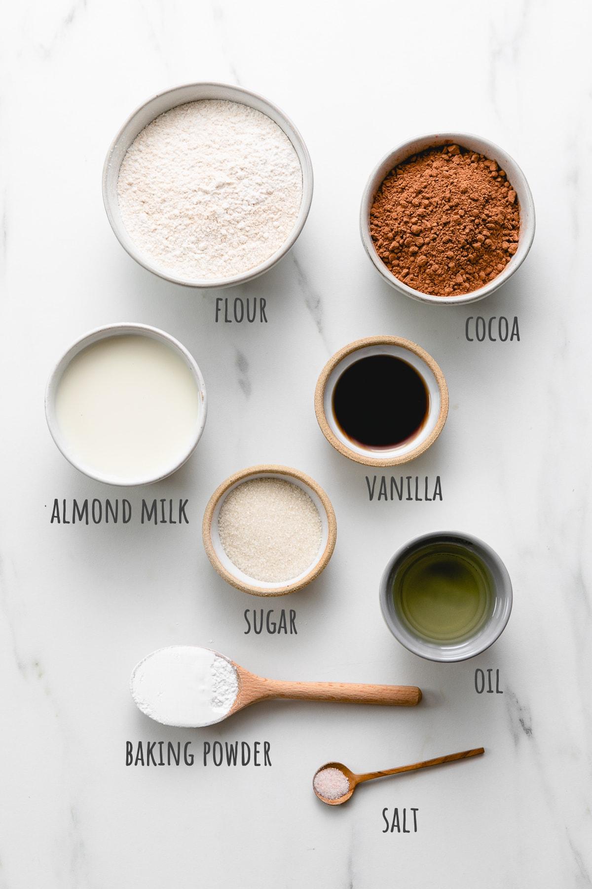 top down ingredients used to make vegan chocolate waffles recipe.