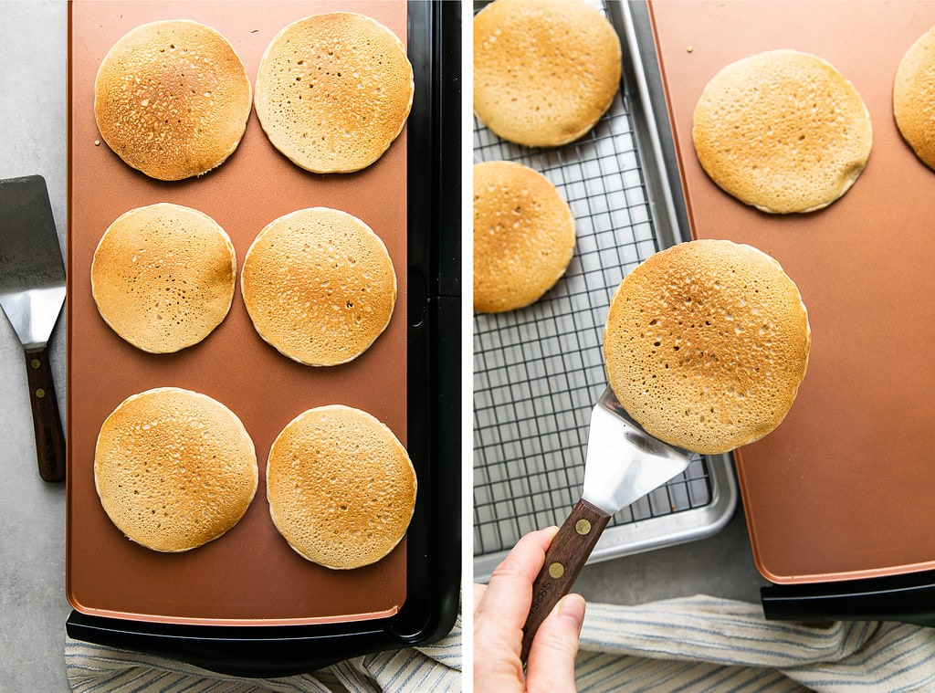 side by side photos showing the process of cooking and cooling vegan pancakes.