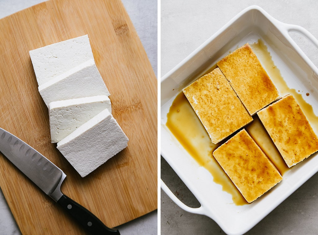side by side photos showing the process of making cutting and marinating tofu.
