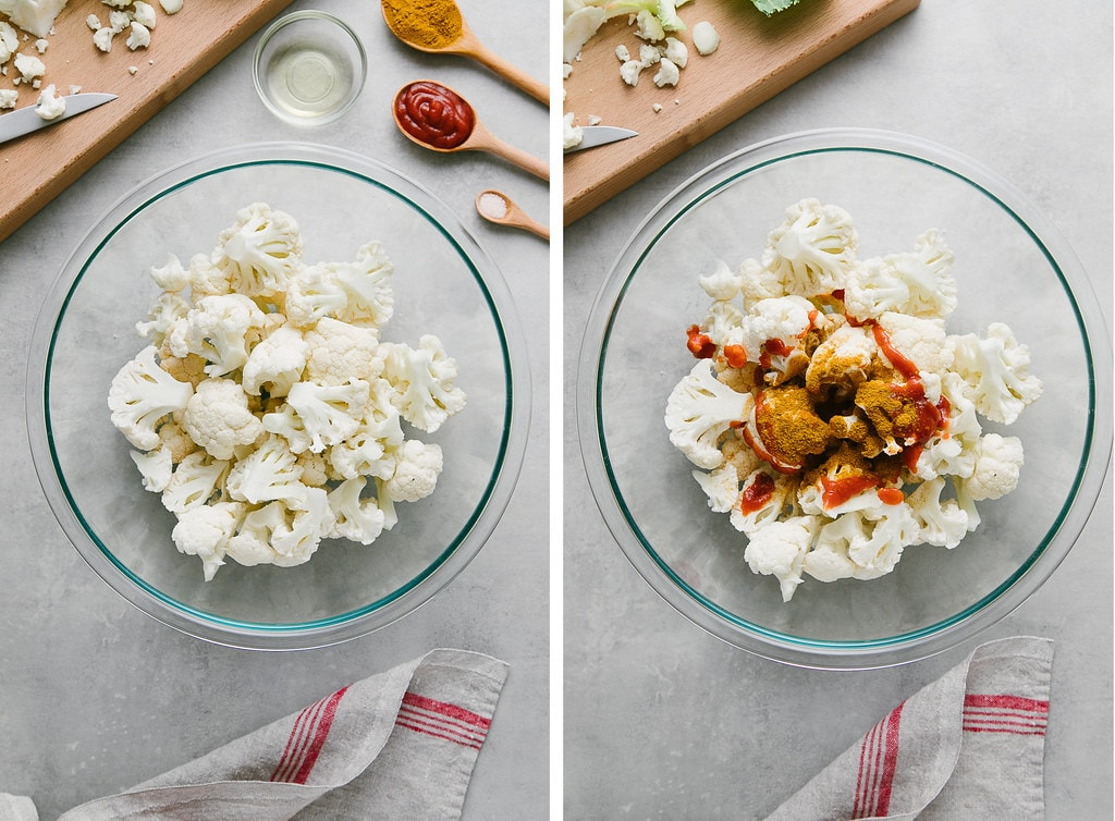 side by side photos showing the process of coating cauliflower with spices in a glass bowl and items surrounding.