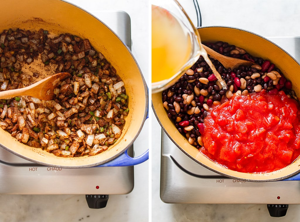 side by side photos showing the process of making easy 3 bean chili recipe.