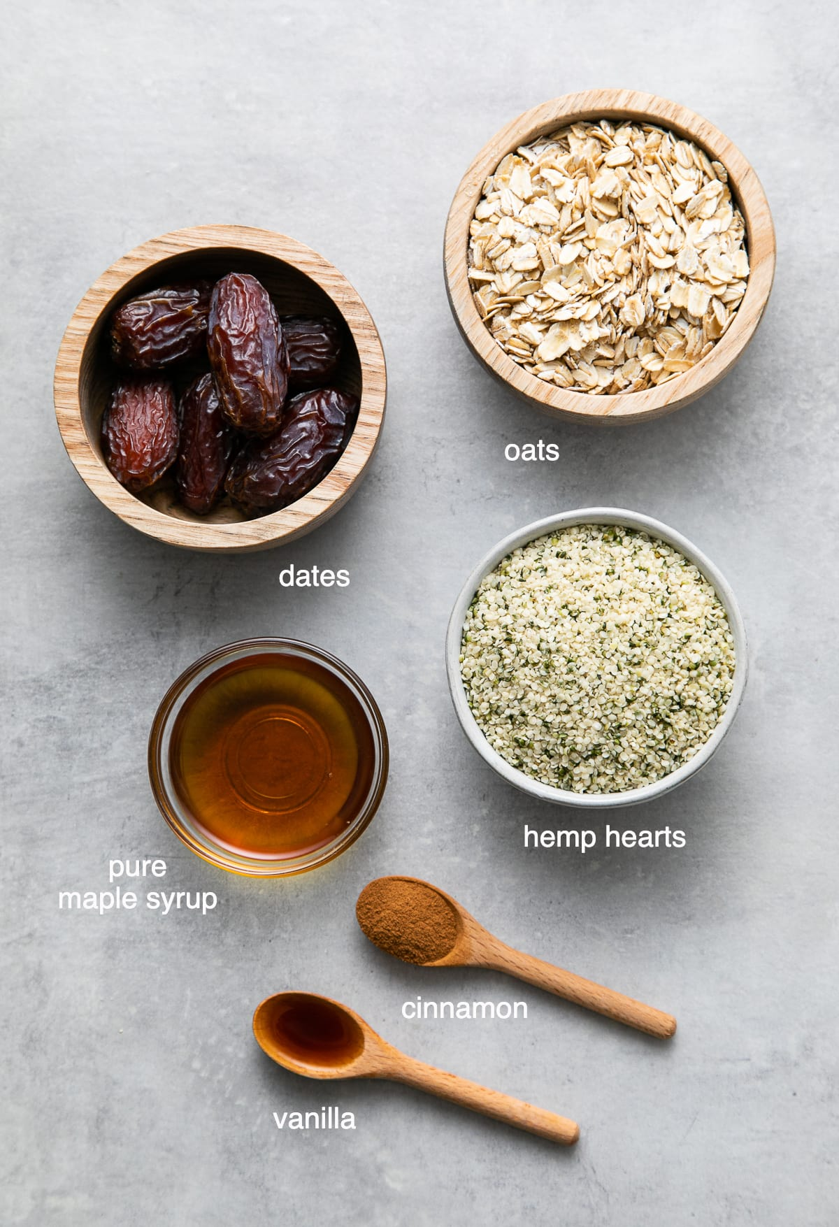 top down view of the ingredients used to make no bake energy bites with oats, dates and hemp hearts.