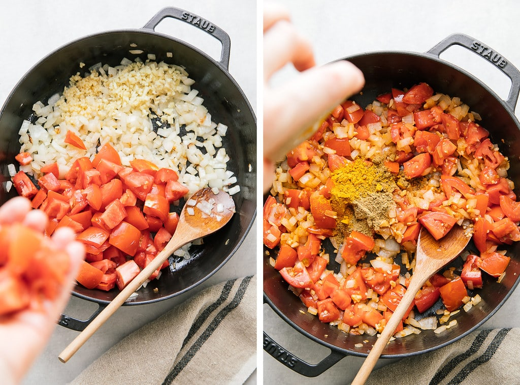 side by side photos showing the process of sauteing veggies in cast iron pan.