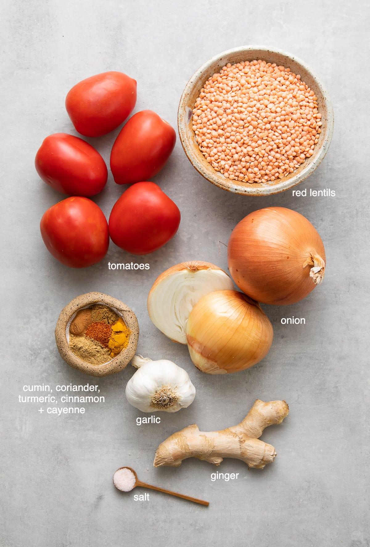 top down view of ingredients used to make vegan spicy red lentil dahl.