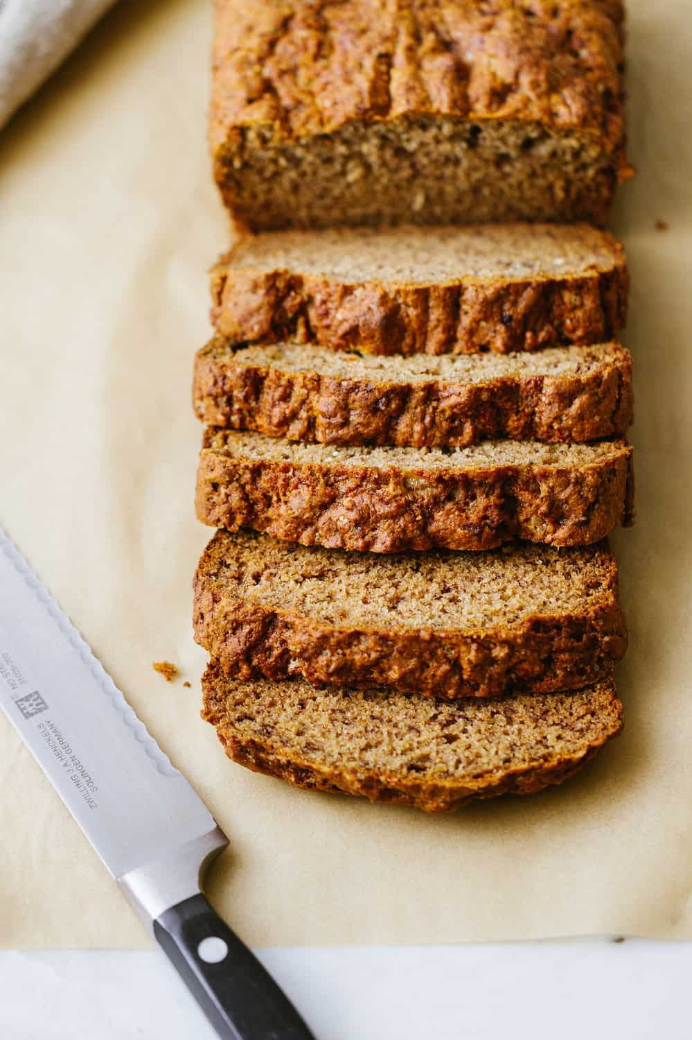 healthy vegan banana bread sliced