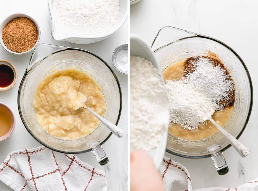 side by side photos showing the process of making banana bread batter..