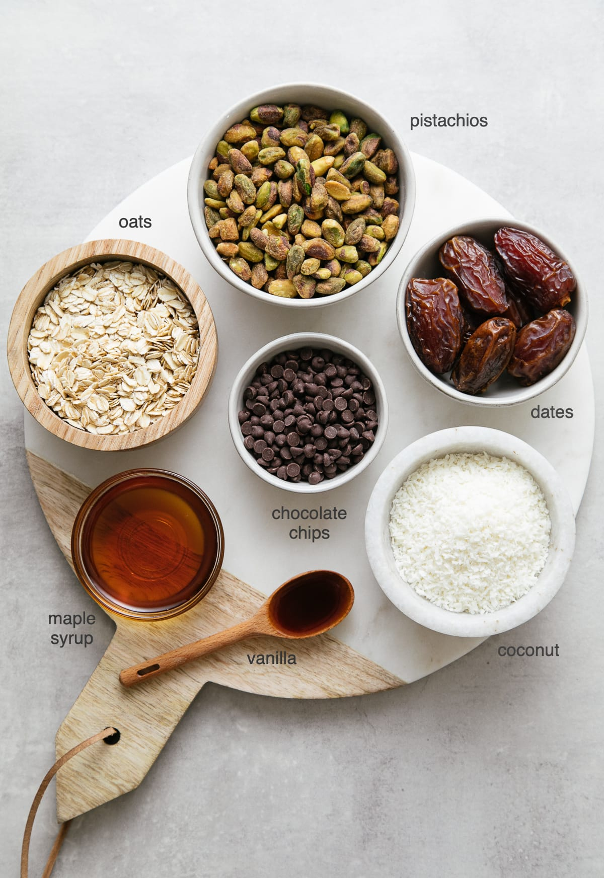 top down view of ingredients used to make healthy no bake cookie balls.
