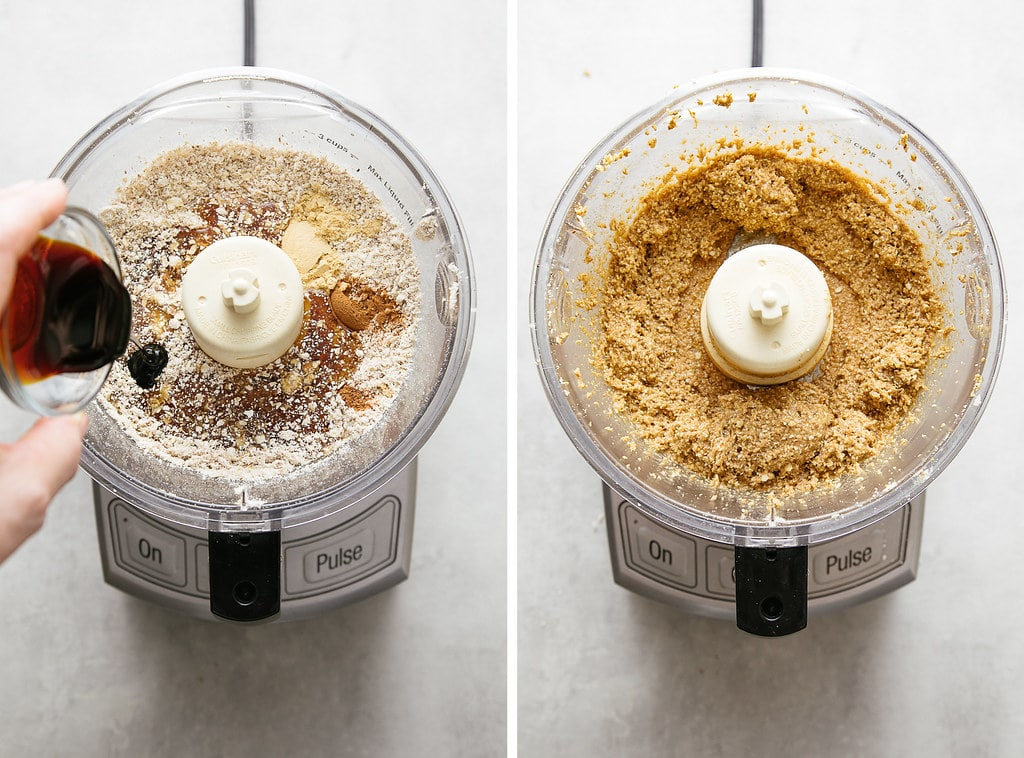 side by side photos showing the process of making making raw ginger snaps dough.