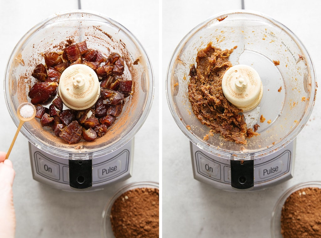 side by side photos showing the process of making date paste in food processor.